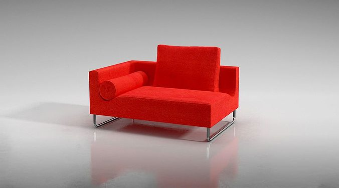 modern red sofa with accent pillow 3d model obj 1