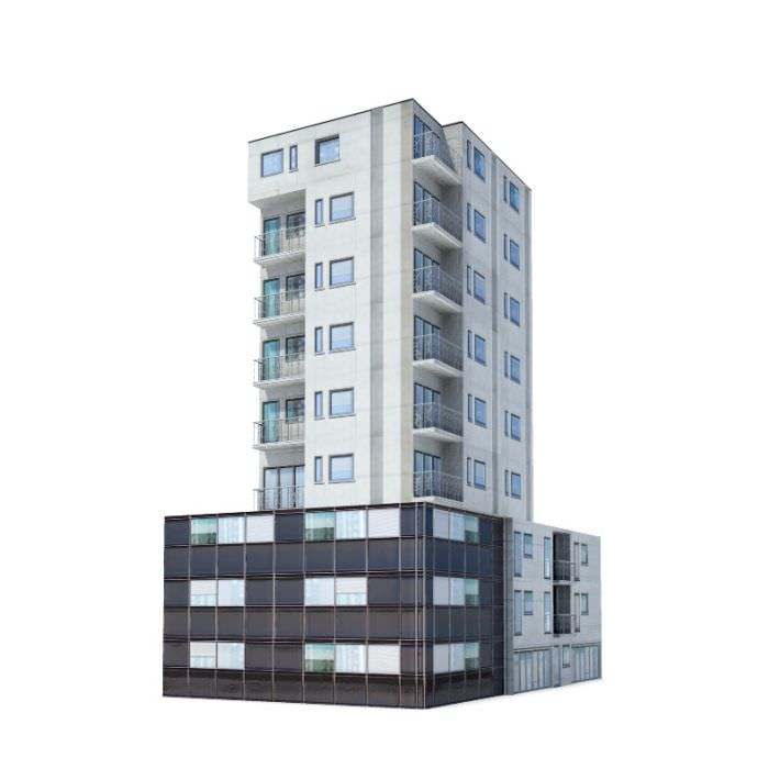 9 Story Residential Building 3d Model