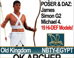 Ancient Egyptian OK Archer Props Set Poser Daz 3D