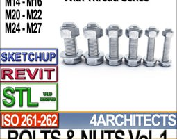 Bolts Nuts Vol 1 ISO 261 262 STL Printable Vol 1 ISO 261 262 3D Model