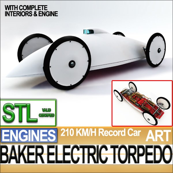 Record Car Baker Electric Torpedo 1902 STL Printable