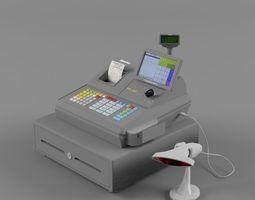 sam4s samsung sps-530 cash register with barcode reader light  2 3d model
