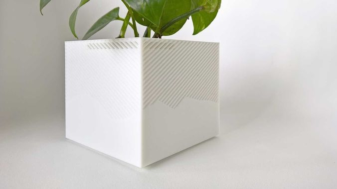 003f - planter - medium cuboid with pattern -  3d model stl 1