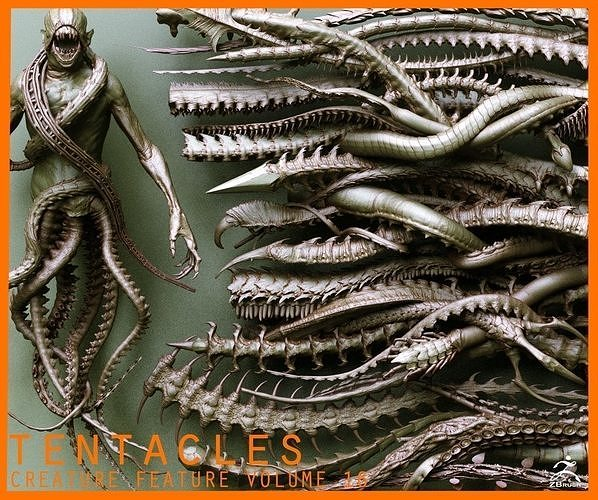 TENTACLES - 40 types in ZBrush brushes and OBJs