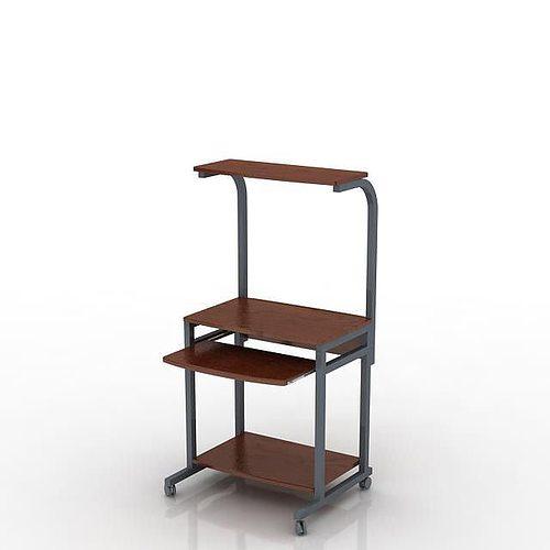 Small E Single Chocolate Brown Wood And Grey Metal Comput Model