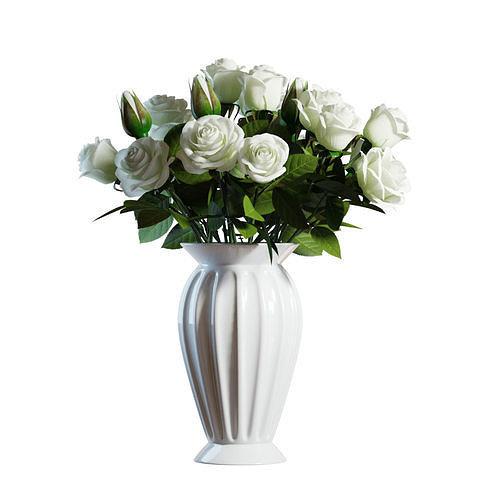 Flower Set 04 - White Roses Bouquet