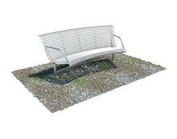 3D White Garden Bench