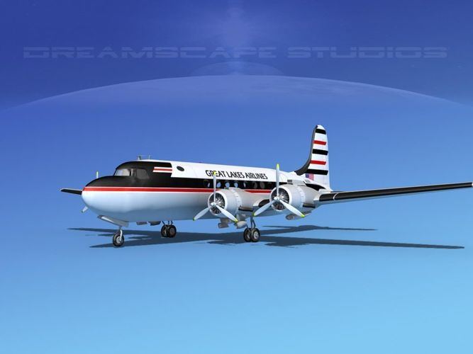 douglas dc-4 great lakes airlines 3d model max 3ds lwo lw lws dxf dae dwg 1