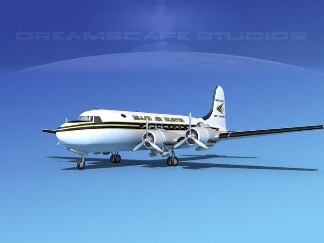 douglas dc-4 miller air cargo 3d model max 3ds lwo lw lws dxf dae dwg 1