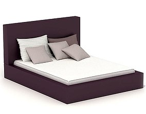 Modern White And Purple Bed 3D