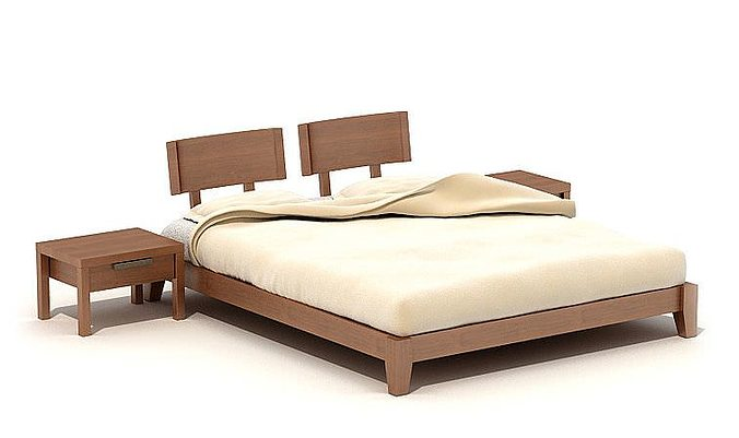 Double cot bed with a stool 3d cgtrader for Latest double cot designs