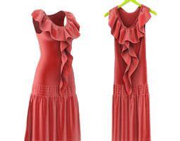 3D model Red Ruffled Dress