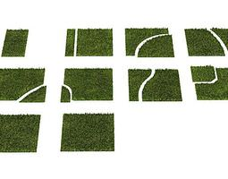 Puzzle Grass Green Squares 3D model