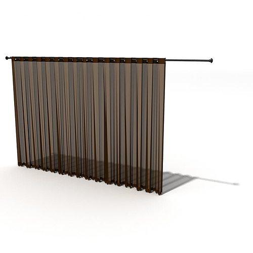 Brown Sheer Curtains 3D Model   CGTrader.com