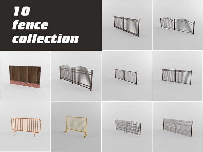fence collection 3d model max obj mtl fbx unitypackage prefab 1