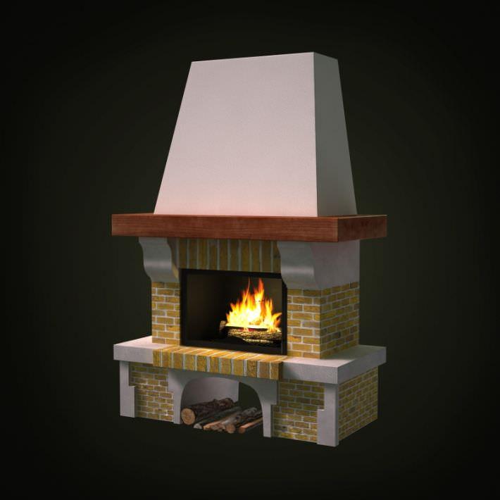 3D Brick Wood Burning Fireplace   CGTrader