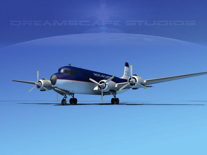 douglas dc-7b pacifica air charter 3d model max obj 3ds lwo lw lws dxf dwg 1