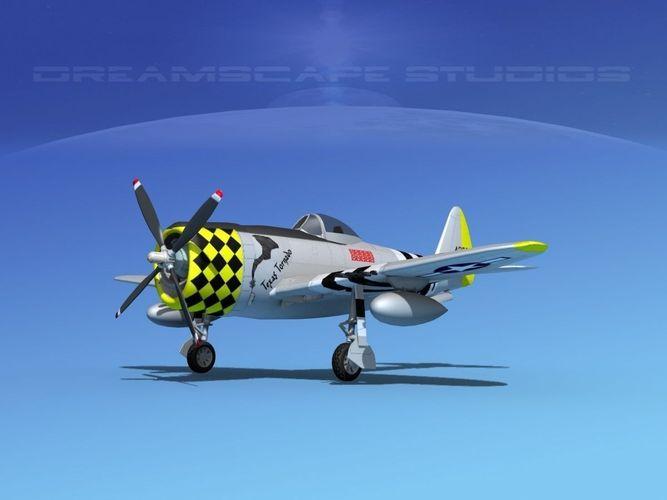 republic p-47d thunderbolt v07 3d model animated max obj mtl 3ds lwo lw lws dxf dae 1
