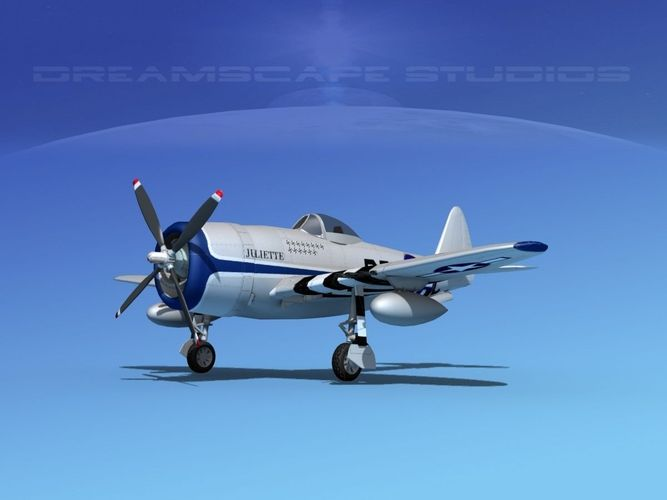 republic p-47d thunderbolt v15 3d model animated max obj mtl 3ds lwo lw lws dxf dae 1