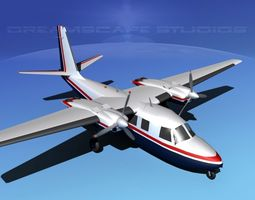 rockwell aero commander 560 v02 3d model animated