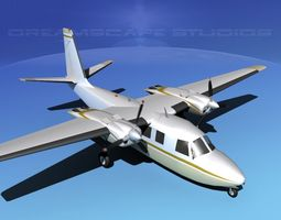 rockwell aero commander 560 v05 animated 3d model