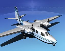 animated 3d model rockwell aero commander 560 v12