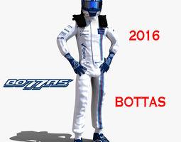 rigged valtteri bottas 2016 3d asset low-poly