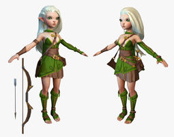 Cartoon elf ranger 3D asset