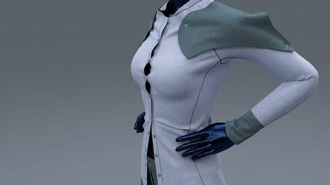female shirt and trousers 3d model fbx c4d 1