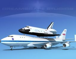 3d model rigged sts shuttle discovery transport mp 2-2 747