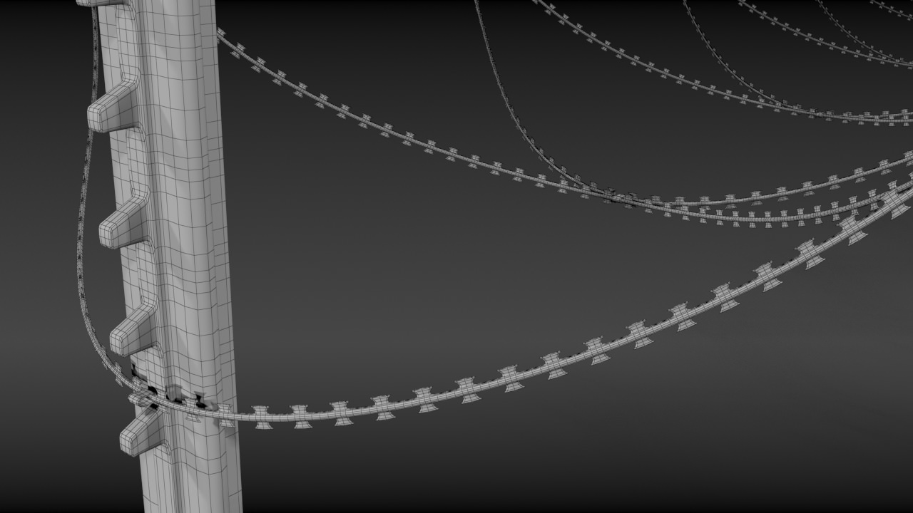 3D Razorwire fence | CGTrader