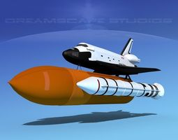 rigged space shuttle endeavour launch mp 2-1  3d