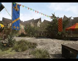 realtime 3d asset medieval village