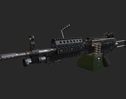 game-ready 3d asset m249 machine gun