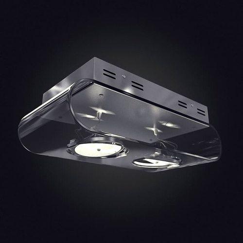 two bulb ceiling light 3d model obj 1