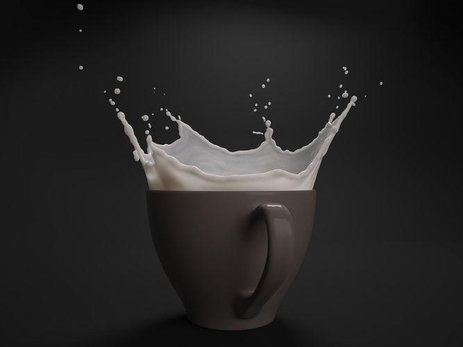 milk splash in cup 3d model obj mtl blend 1