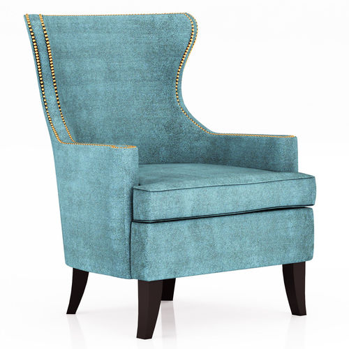 3d Model Pacific Blue Elliott Wingback Chair Cgtrader