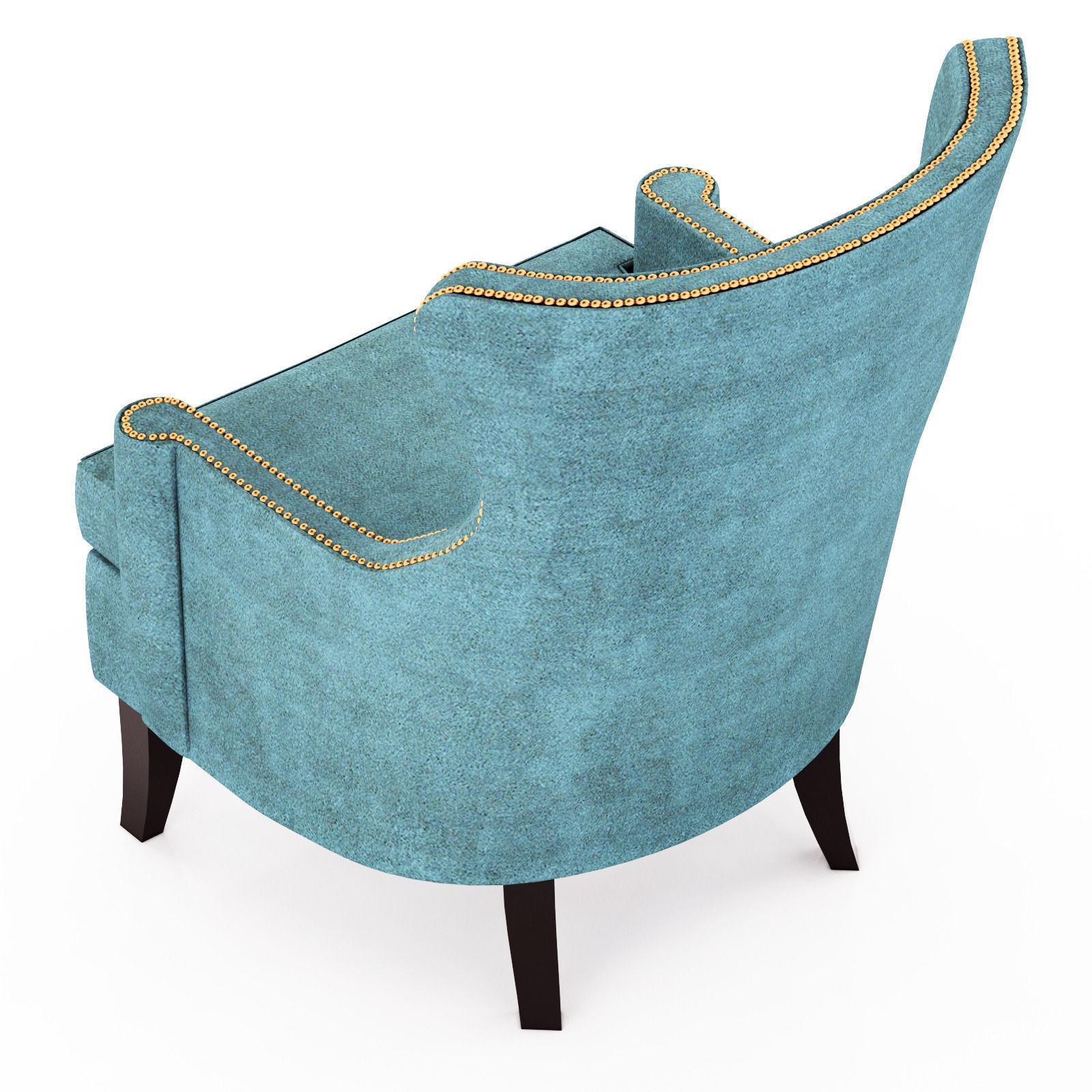 3D model Pacific Blue Elliott Wingback Chair