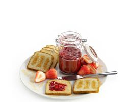 plate of toast with strawberry preserves 3d model