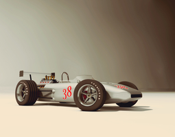 3d model race car old style