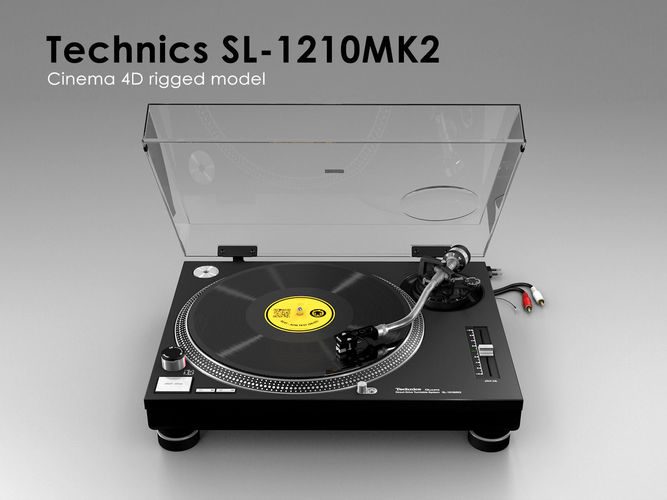 technics sl-1210mk2 - rigged 3d model rigged animated obj mtl 3ds fbx c4d dxf stl 1
