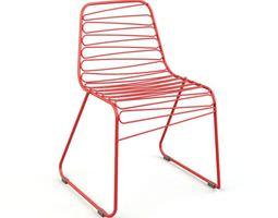 3d model red modern chair