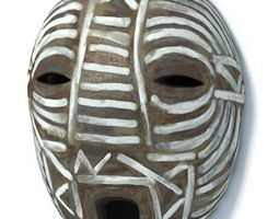 3D African Brown And White Mask