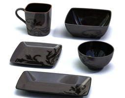 3D model Black Porcelain Service Set