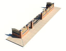 3d model metal top brick fencing