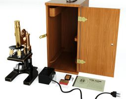 3d model microscope with a wooden case