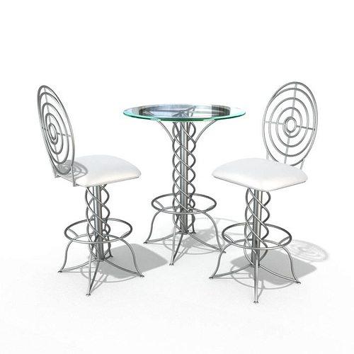 3D Modern Bistro Table Set | CGTrader