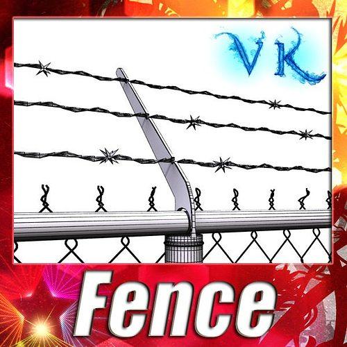 chainlink fence barbed wire high detail 3d model max obj mtl fbx mat 1