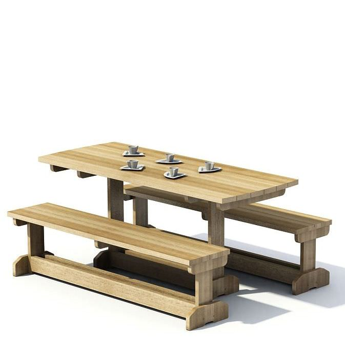 wooden picnic table 3d model 1