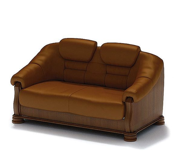 brown leather sofa 3d model  1